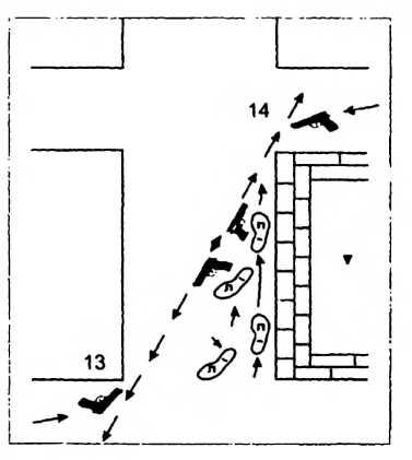 Схема 47. Контроль двумя стволами наиболее опасных направлений при перемещении вдоль стен