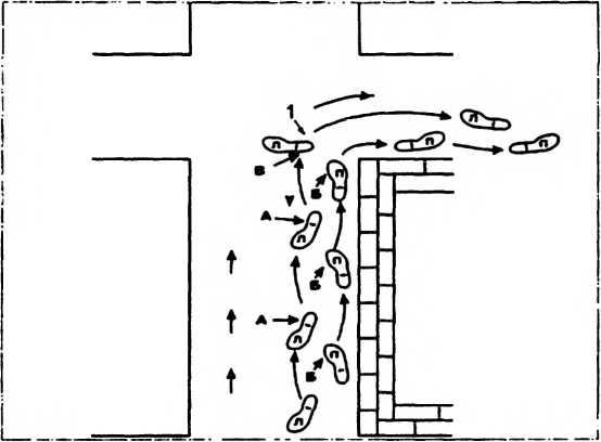 Схема 48. Постановка ступней и работа ног при поисково — штурмовых перемещениях вдоль стен