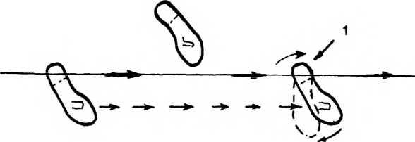 Схема 14. Постановка ступней при стрельбе с подхода. Правая стопа развернута каблуком (1) вперед