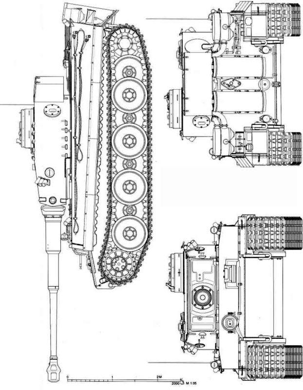 Pz.Kpfw.VI(H) «Тигр» раннего периода впуска (вид сбоку, спереди и сзади).