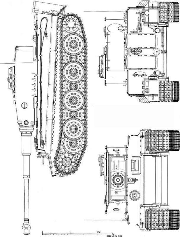 Pz.Kpfw.VI Ausf.E «Тигр» позднего периода выпуска (вид сбоку, спереди и сзади).