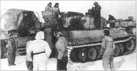 Pz.Kpfw.VI(H) номер «11» (красного цвета) на советско-германском фронте. Февраль 1944 года.