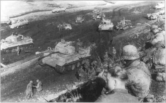 «Тигры» 507-го батальона тяжелых танков в районе Тарнополя(Тернополя). На башне одного из танков вместо номера видна литера «А». Видимо, это знак командира батальона. Советско-германский фронт, апрель 1944 года.