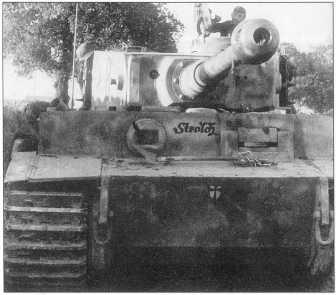 «Тигр I» из состава танковой роты Мейера (Meyer). Танк желтый с размытыми коричневыми и зелеными пятнами. Номер «8» на башне черного цвета. Надпись на лобовой броне «Strolch» («Плохой парень»). Италия, начало марта 1944 года.