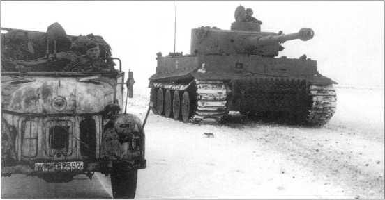 Pz.Kpfw.VI(H) дивизии вермахта «Великая Германия». Машина окрашена в серый цвет. Советско-германский фронт, февраль 1943 года.