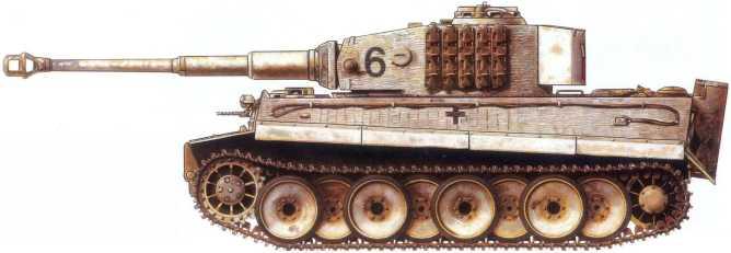 Pz.Kpfw.VI(H) 506-го батальона тяжелых танков вермахта.Советско-германский фронт, январь 1944 года.