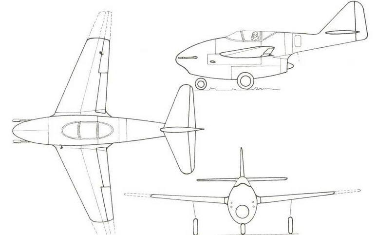 Проект Мессершмитта Р1092/2 (истребитель с одним ТРД) от 3 июля 1943 г.