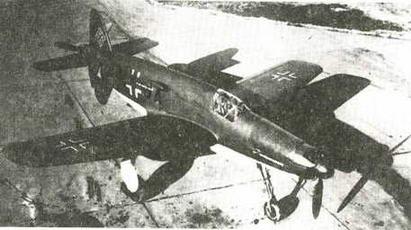 Исходный проект Do 335. На снимке - опытный образец революционного поршневого истребителя