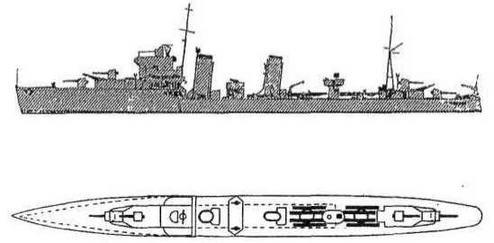 """Эскадренные миноносцы """"Esk"""" и """"Express"""". 1939 г. (Наружный вид и вид сверху)"""