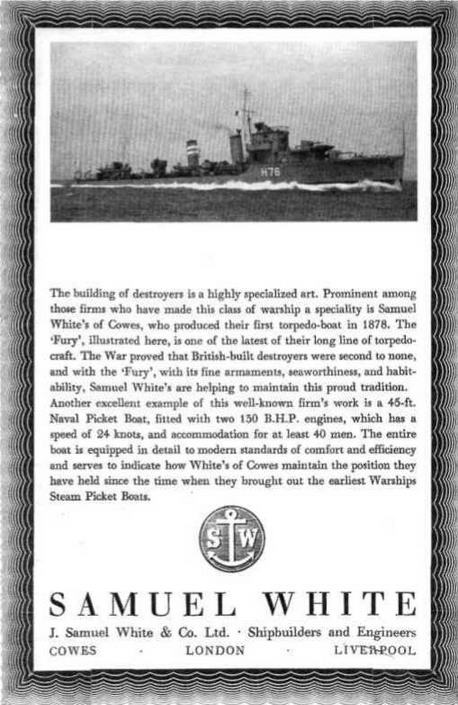 Реклама фирм—строителей эскадренных миноносцев, опубликованная в английских справочных изданиях в 1936-1939 г.