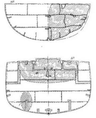 """Эскадренный миноносец """"Хантер"""". 1937г. Схема повреждений переборок после подрыва на мине на 50-м (вверху) и 74-м шп."""