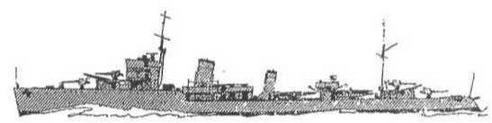 """Эскадренный миноносец """"Ambuscade"""". 1939 г. (Наружный вид и вид сверху)"""