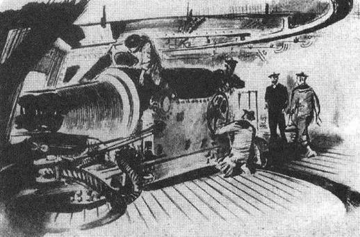 "На ""Редутаблв"" у казематного 270-мм орудия"