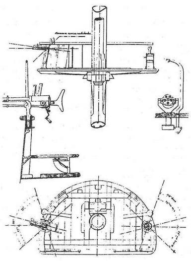 """Броненосец """"Девастасьон"""". 1882 г. (Марсовая площадка с указанием расположения пятиствольных орудий Гочкисса)"""