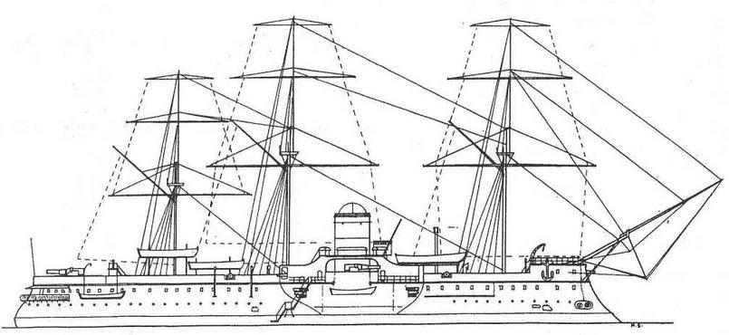 "Броненосец ""Девастасьон"". 1886 г. (Наружный вид)"