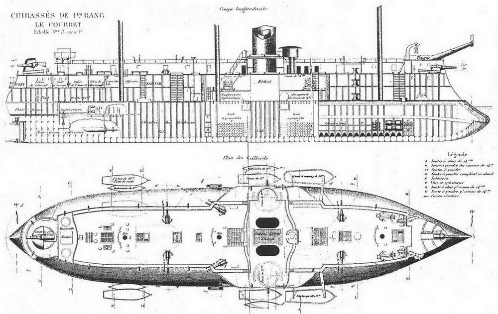 """Броненосец """"Курбэ"""". 1886 г. (Продольный разрез корпуса и вид сверху)"""