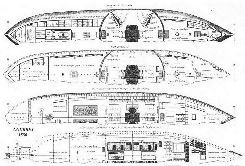 "Броненосец ""Курбэ"". 1886 г. (Планы палуб)"