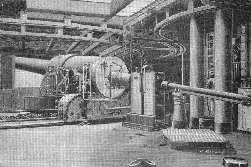 """340-мм казематная артиллерийская установка на броненосце """"Курбэ"""". С рисунка того времени."""