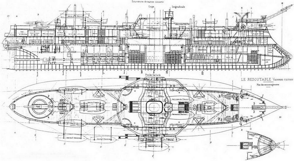 """Броненосец """"Редутабль"""". 1878 г. (Продольный разрез корпуса и план верхней палубы)"""