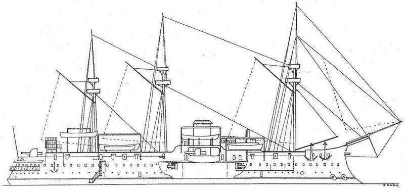 """Броненосец """"Курбэ"""". 1886 г. (Наружный вид)"""