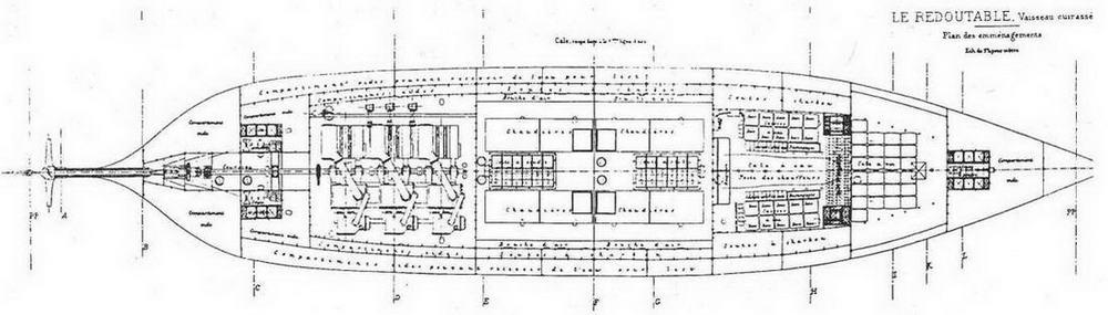 "Броненосец ""Редутабль"". 1878 г. (Планы палуб)"