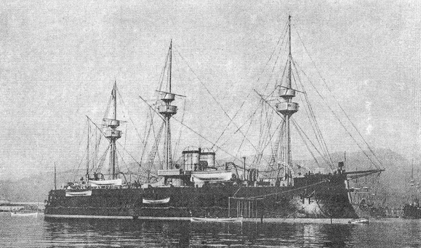 """Броненосец """"Девастасьон"""" в конце 1890-х гг."""