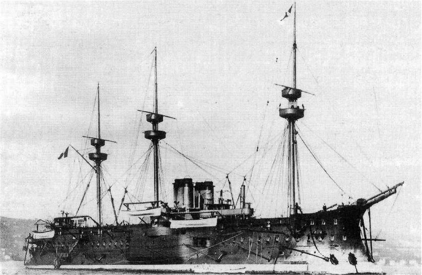 """Броненосец """"Курбэ"""" в период службы после вступления в строй и до модернизации 1899-1900 гг."""