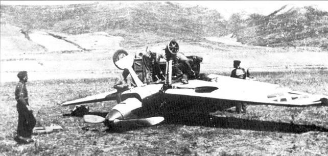 Перевернувшийся при посадке Bf.109B-1 (борт. Помер 6-М)).