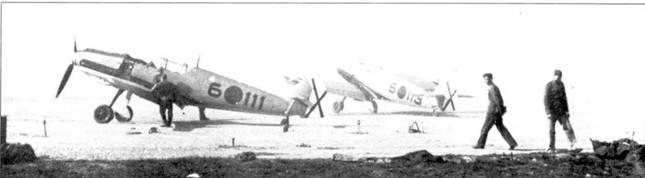 Истребители Bf.109E-l на аэродроме в конце войны.