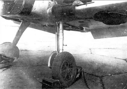 Основные стойки шасси Bf.109B-1.