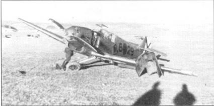 Bf.109B-1 с поломанным шасси после грубой посадки.