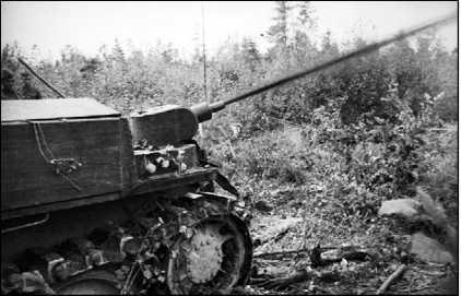 Стрельба огнесмесью из трофейного танка.