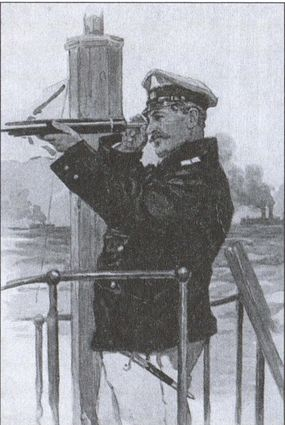 Офицер Российского Императорскою флота на мостике корабля