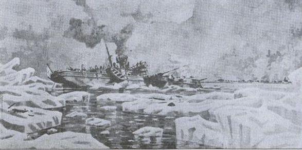 Канонерская лодка «Терец» в бою. Зима 1920г. Картина художника — эмигранта Р. Сазонова