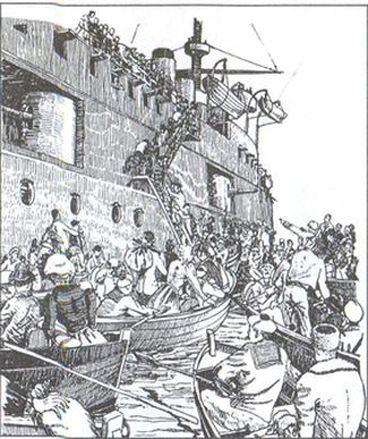 «Уходили мы из Крыма, среди дыма и огня…». Погрузка русских беженцев на один из французских кораблей