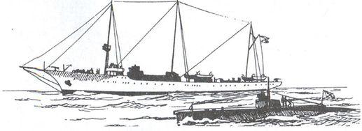 Крейсер «Алмаз» и подводная лодка АГ -22