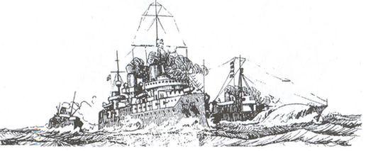 Линкор «Генерал Алексеев» эскортируемый канонерской лодкой «Дэданьез», на заднем плане — пароход «Далланд»