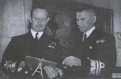 Вице-адмирал польского флота Г.В. Свирский с Лордом Адмиралтейства адмиралом А. Каннингхэмом