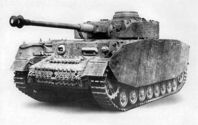 Pz.IV Ausf.Н с полным комплектом бортовых экранов и нанесенным «циммеритным» покрытием.