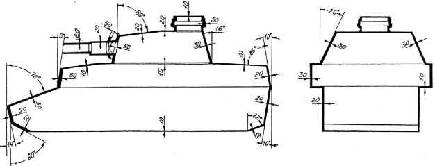 Схема бронирования среднего танка Pz.IV.
