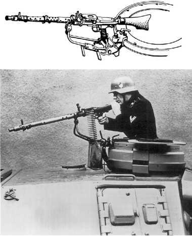 Интерьер башни танка Pz. IV Ausf.G. По сравнению с танками, вооруженными короткоствольными пушками, в интерьере башни ничего не изменилось (фото вверху). На рисунке в центре показана установка пулемета MG 34 на кронштейне командирской башенки. Судя по фото внизу, этот пулемет предназначался не столько для ведения огня по воздушным целям сколько для самообороны.
