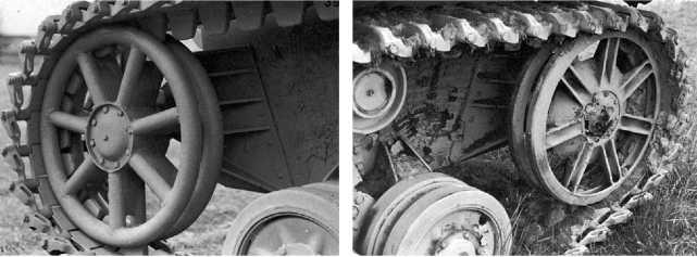 Такое направляющее колесо использовалось на танках модификаций от F1 до Н (слева), а такое на машинах модификации J (справа).
