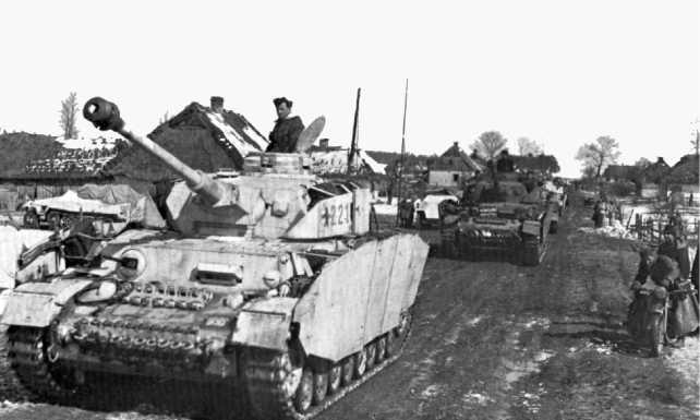 Колонна танков Pz.IV Ausf.H из состава 3-й танковой дивизии. Восточный фронт, зима 1943/44 года.