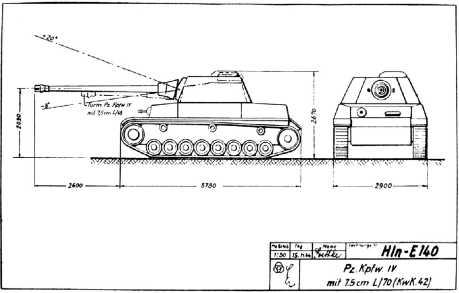 Фотокопия эскизного проектного чертежа танка Pz.IV, вооруженного 75-мм пушкой KwK 42.
