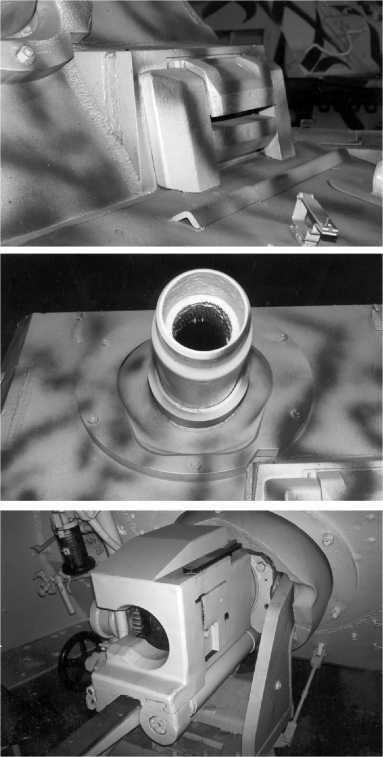 «Бруммберы» первой серии оснащались прибором наблюдения механика-водителя, заимствованным у тяжелого танка «Тигр» (вверху). Установка 150-мм гаубицы StuH 43 в лобовом листе рубки (в центре). Казенная часть и лафет штурмовой гаубицы (внизу).