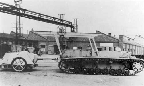 105-мм самоходная гаубица Heuschrecke 10. Башня снята и установлена на колесный прицеп.