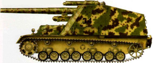 15 cm Panzerhaubitze auf GW III/IV Hummel. Танковая дивизия «Фельдхернхалле»,Будапешт, январь 1945 года.