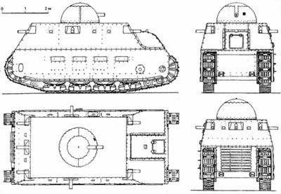 Проекции тяжелого танка «Фиат»-2000.