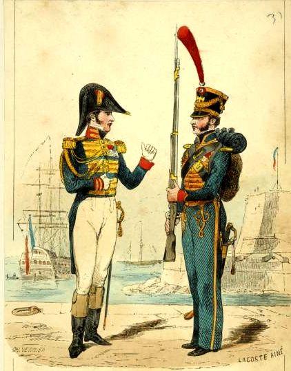Офицер и рядовой Морских гвардейцев Наполеона Бонапарта.