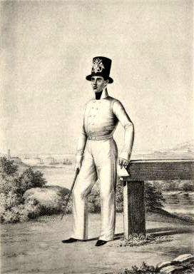 Унтер-офицер Артиллерийской команды в летней вседневной форме. 1810г. Из собрания ЦВММ. 3421/27.